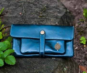 Portemonnaie Leder blau