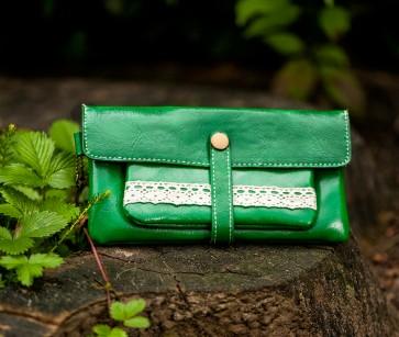Portemonnaie Leder grün
