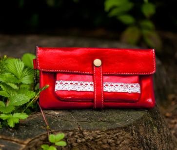 Portemonnaie Leder rot