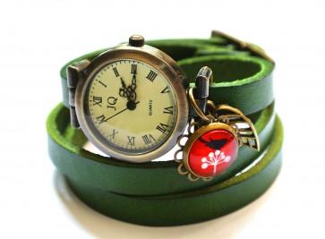 Wickeluhr Leder grün